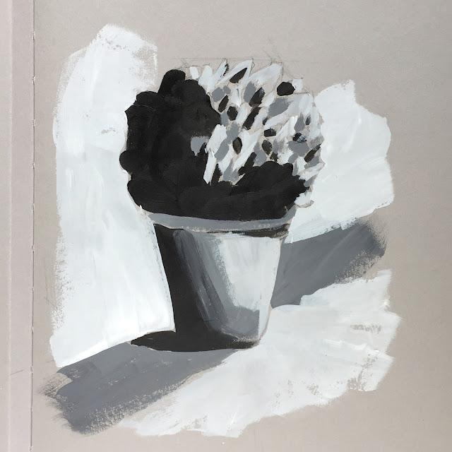 Daily Art 05-20-18 value sketch of little potted plant in grey toned Nova sketchbook