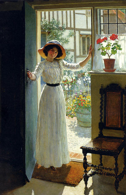 At the Cottage Door by William Henry Margetson