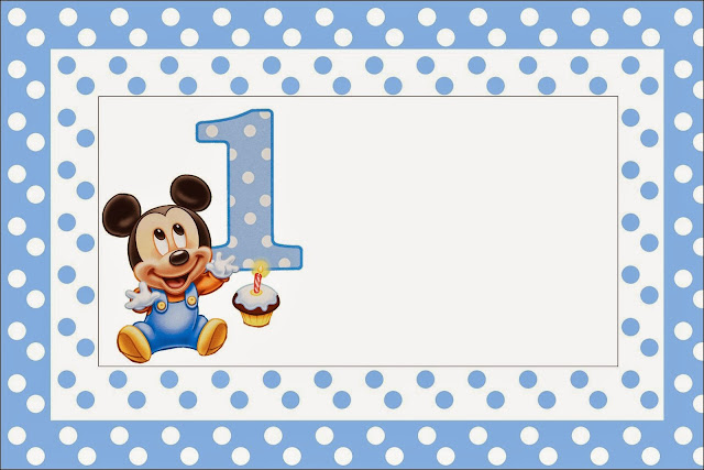 First Year of Mickey with Polka Dots: Free Printable Invitations, Labels or Cards.
