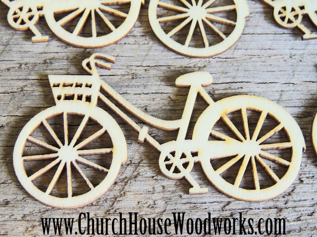 Wood Bikes to Decorate Table for confetti scatter or use at Rustic weddings.
