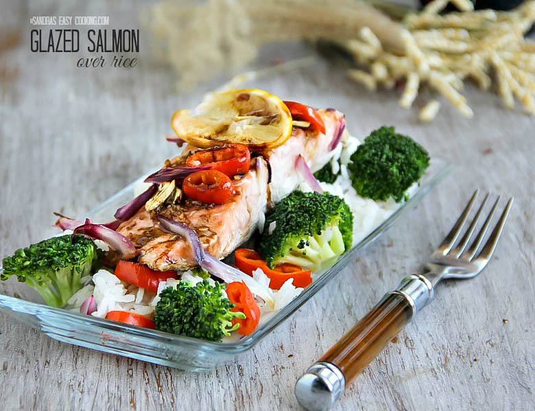 Glazed Salmon over rice with vegetables