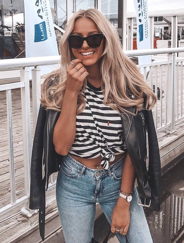 cute outfit_striped top + black biker jacket + skinny jeans