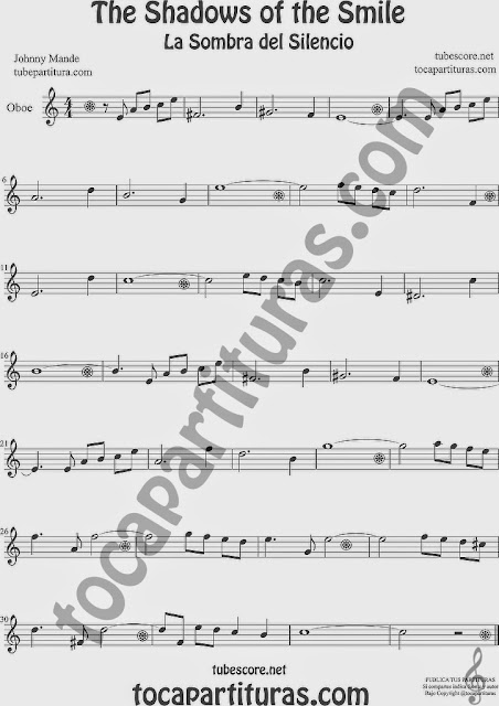 The Shadows of Your Smile Partitura de Oboe Sheet Music for Oboe Music Score La Sombra de tu Sonrisa
