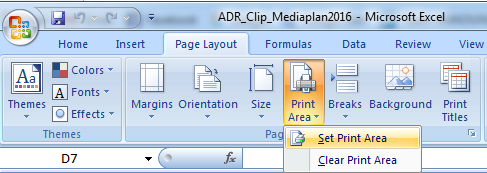 Set Print Area In trong Excel