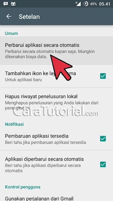 Menu perbarui aplikasi secara otomatis
