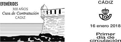 Filatelia - Efemérides. 300 Aniversario Casa de Contratación de Cádiz  - Matasellos del Primer día de circulación