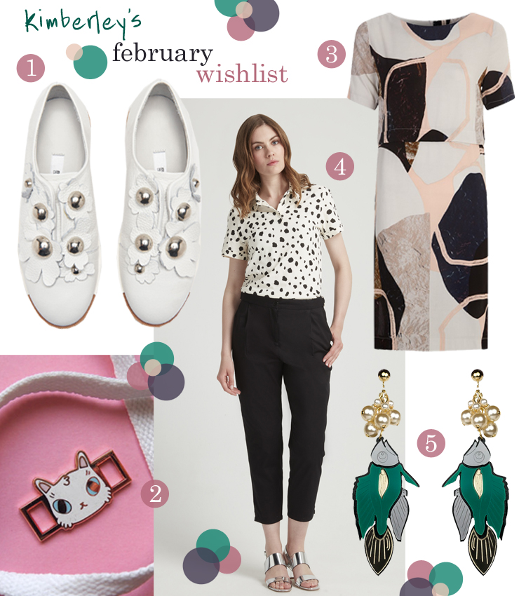 wish list, wishlist, blogger wishlist, February wish list, Ichi for Joy Store, patterned dress,Toby Likes Cats, cat accessory, Miista shoes, dalmatian print, spotty shirt, People Tree, Patricia Nicolas, fish earrings, acrylic earrings