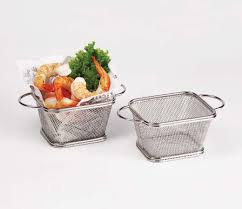 fry basket, mesh basket, serving basket