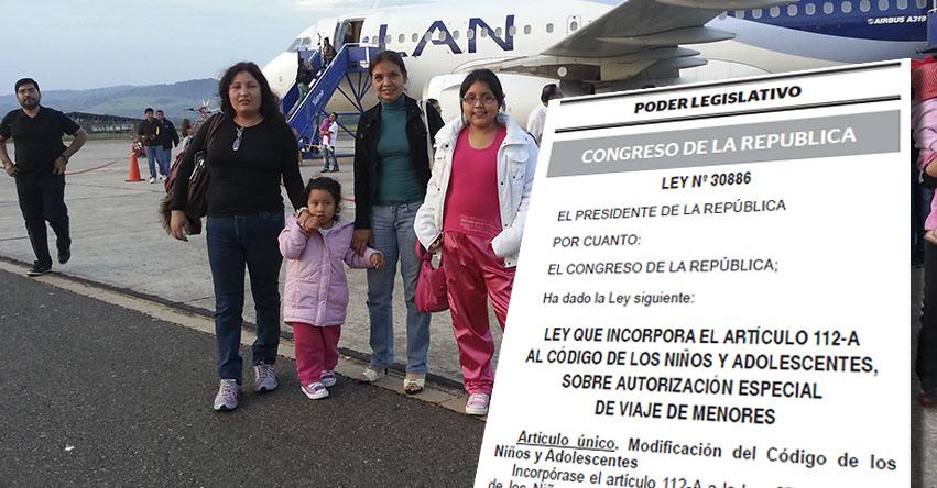 Crean autorización especial de viaje de menores de edad (Ley Nº 30886)