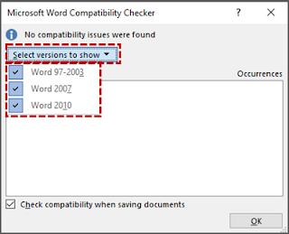 Menjalankan Compatibility Checker Sebelum Menyimpan Dokumen 2