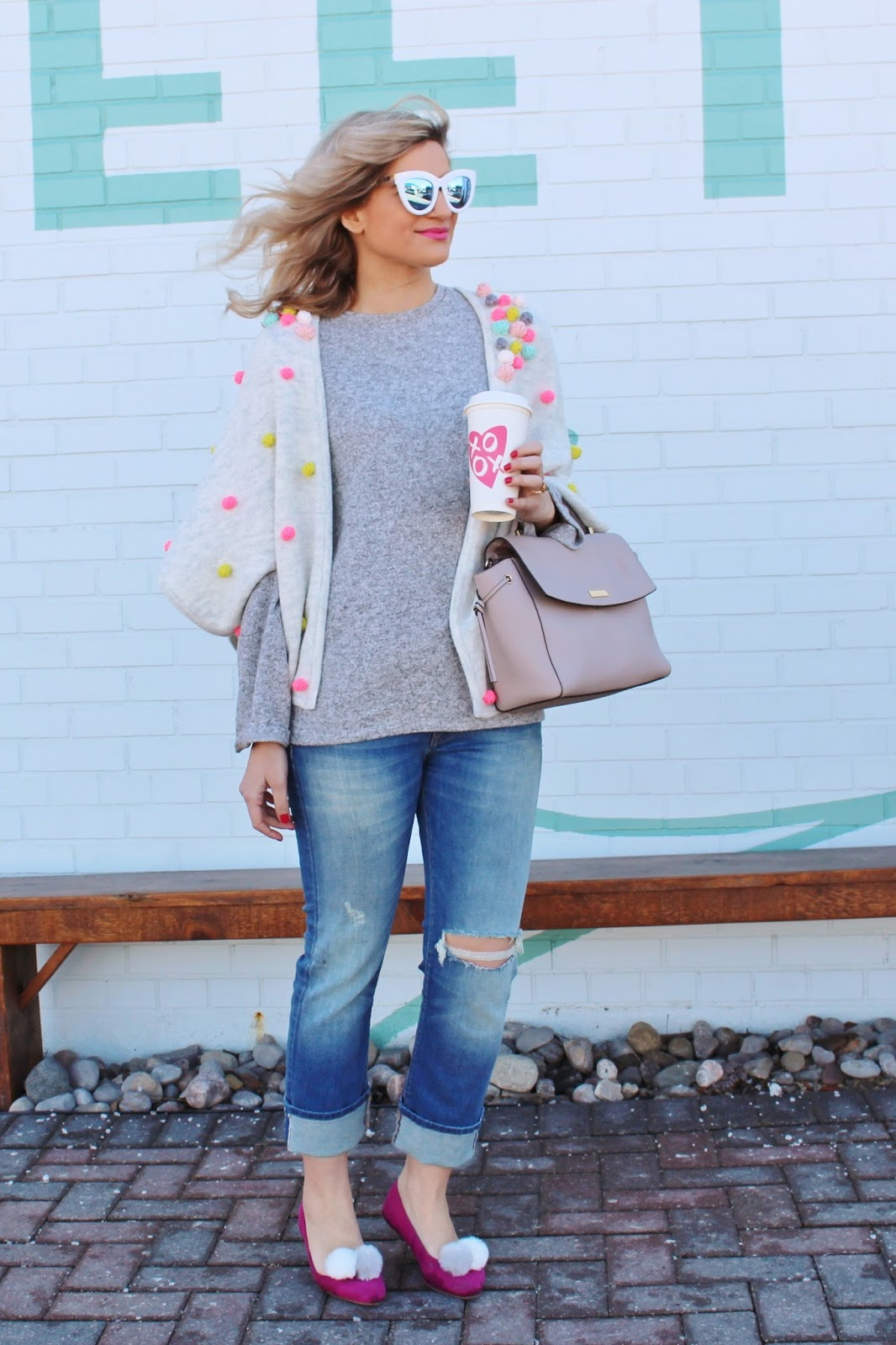 Bijuleni - Pompom Cape, boyfriend jeans and bell sleeve top