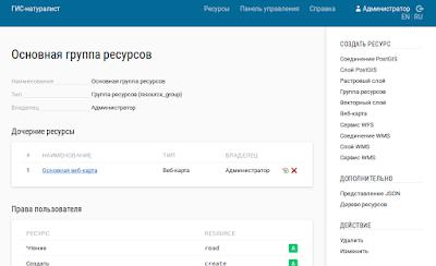 nextgis - главная страница после авторизации - RU