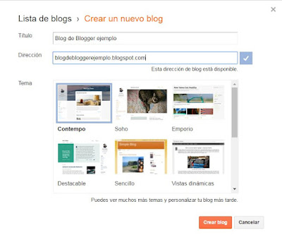 Creando blog de blogger