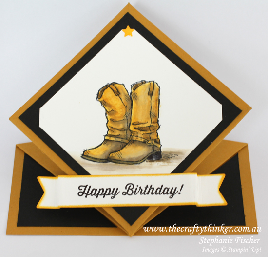 Stampin Up, #thecraftythinker, Country Livin', Spring Card, Fun Fold, Boots, Watercolouring, Cowboy Boots, Stampin Up Australia Demonstrator