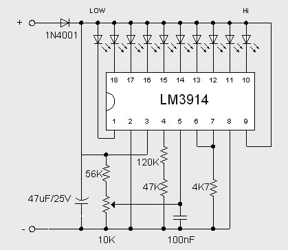 Wiring Schematic Diagram Guide: 2 Volt Battery Monitor by IC LM3914