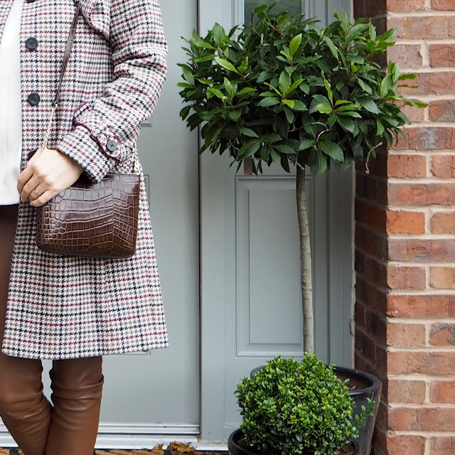 heritage check coat, brown mock crock bag