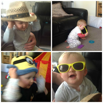 collage of baby taking hats off and putting sunglasses on
