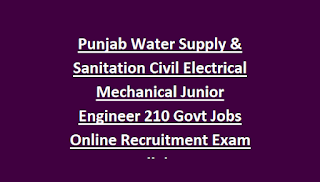 Punjab Water Supply & Sanitation Civil Electrical Mechanical Junior Engineer 210 Govt Jobs Online Recruitment Exam Syllabus
