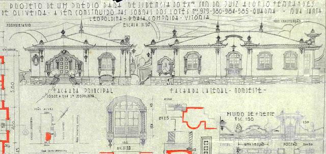 ID 452 - Projeto de um prédio para residência; rua Santa Leopoldina, lotes n. 979-980-984-985 [atual rua Aleixo Neto], Praia do Canto, Vitória, proprietário Juiz Alonso Fernandes de Oliveira, abril de 1945.