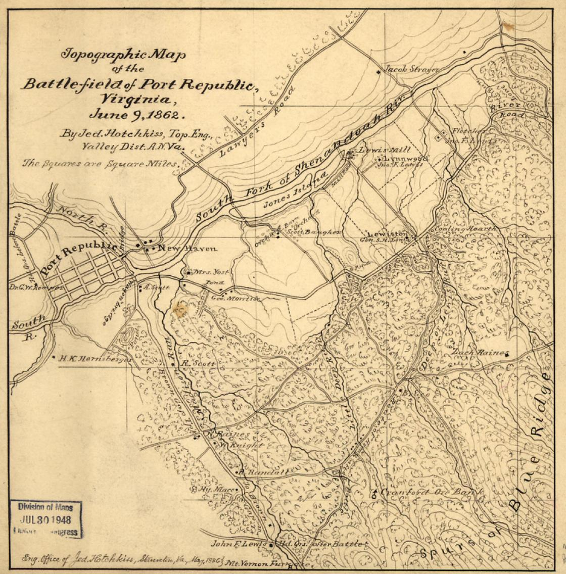 topographical map of the battle of port republic by jedediah hotchkiss c s a library of congress