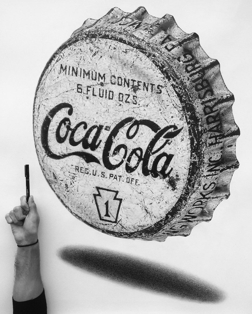 05-Vintage-Coca-Cola-bottle-cap-Pocket-Watch-Graphite-Charcoal-Pen-and-Ink-drawings-www-designstack-co