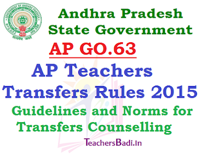 GO.63,AP Teachers Transfers Rules 2015-16,Guidelines, Norms for Transfers