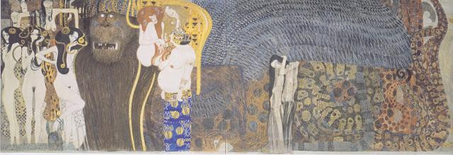 ベートヴェン・フリーズ 敵対する勢力 1901年 クリムト、官能と黄金の画家とは?クリムトの見ておきたい絵画14選【a】