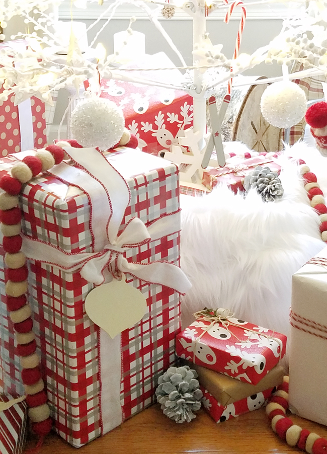 red, white and grey wrapped presents