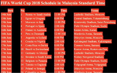 fifa world cup 2018 schedule fixture malaysia time mst myt