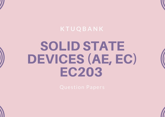 Solid State Devices | EC203 | Question Papers (2015 batch)