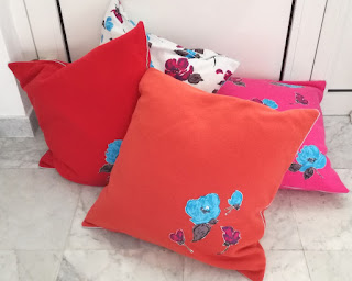 Fleece Cushions with flowers craftrebella