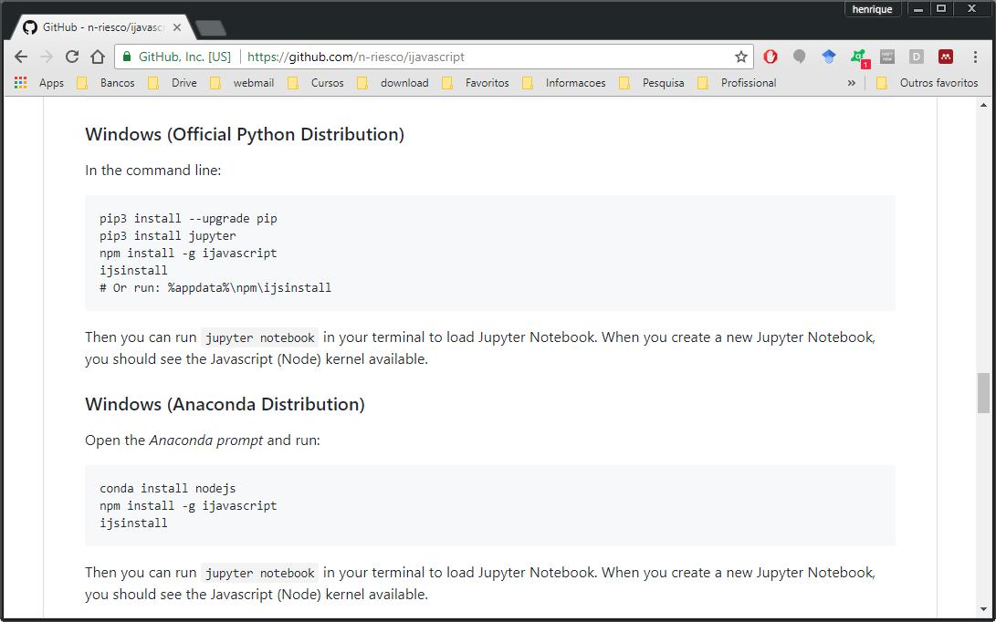 Como instalar o kernel do Javascript (Node js) no Jupyter do Windows