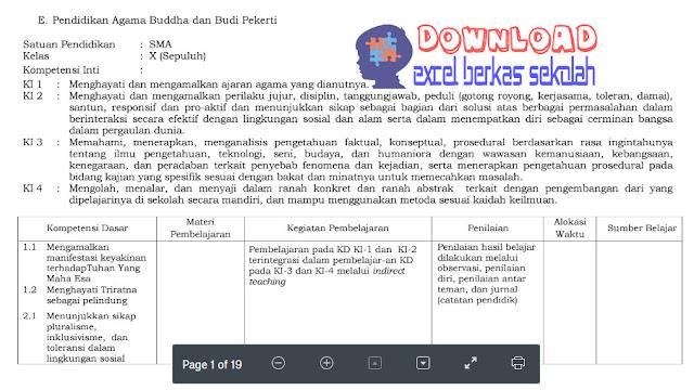 Silabus Agama Budha Kelas X Kurikulum 2013 Revisi 2017