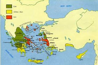 cartina della Magna Grecia, le colonie dei greci