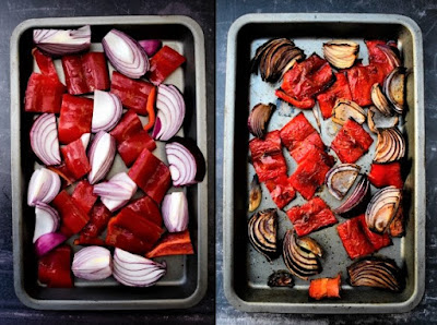 trays of roasted red peppers and onions