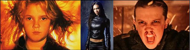 Drew Barrymore in Firestarter, Jessica Alba in Dark Angel and Mile Bobby Brown in Stranger Things