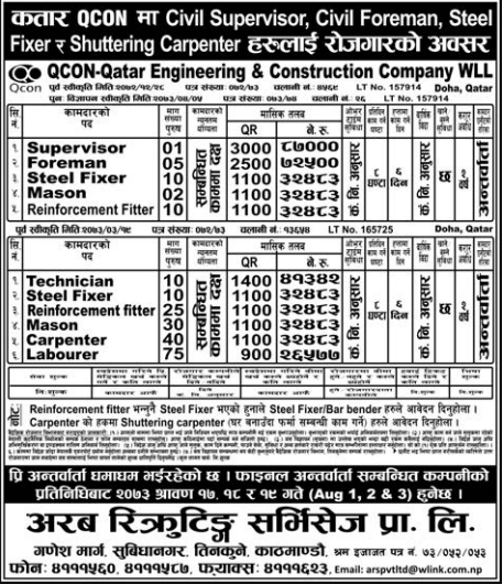 Jobs For Nepali In QCON, QATAR Salary -Rs.87,000/