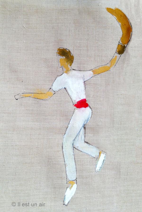 Toile peinte avant broderie : joueur de pelote