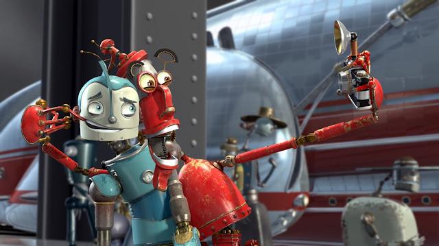 Render en 3D de la película Robots con los personajes Rodney y Fender