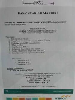 Mandiri kerja syariah lowongan bank pt