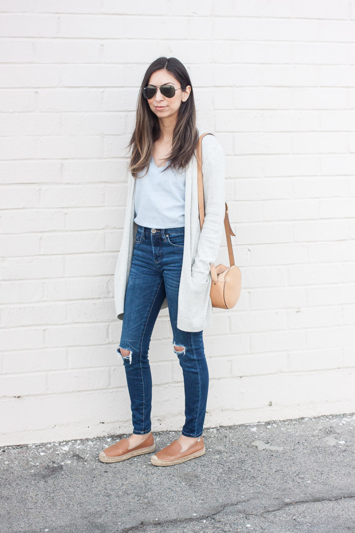 grey cardigan, denim top and jeans