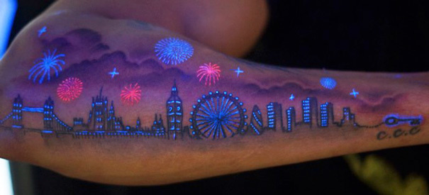 #10. London skyline. - 30 Glow-In-The-Dark Tattoos That'll Make You Turn Out The Lights.