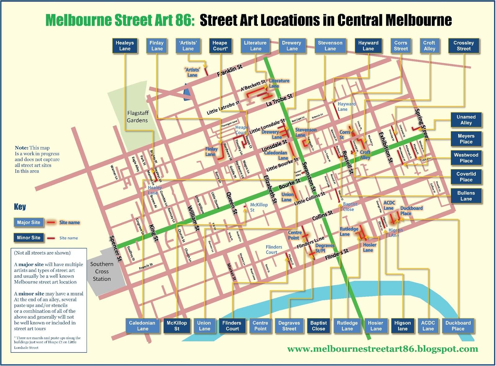 Detailed Map Of Australia Pdf.Melbourne Street Art 86 Map Of Central Melbourne Street Art Locations