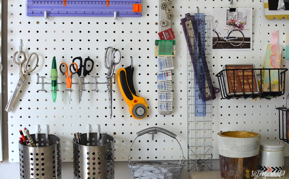 use pegboard multi tool holder to store scissors