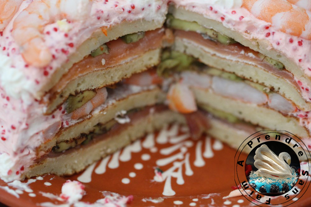 Sandwich cake crevettes saumon
