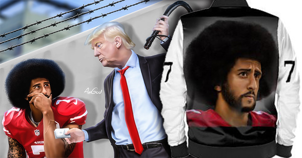 Artwork by Art God illustrating Colin Kaepernick and Donald Trump