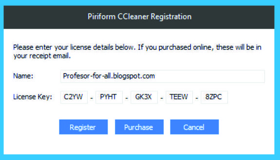 ccleaner license key and name