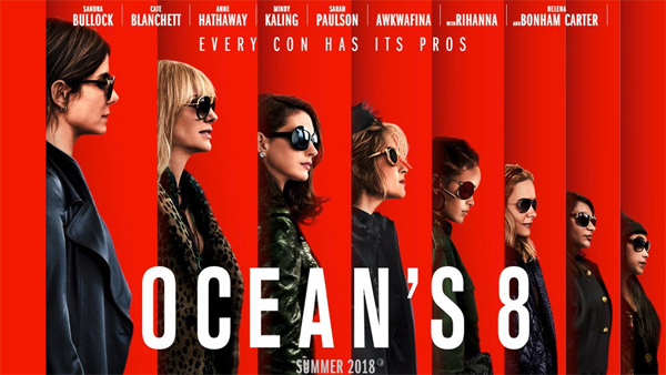 image of one of the promotional posters for Ocean's 8, featuring all eight of the leading women