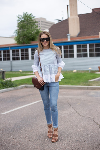 Lace Hemmed Top With Jeans