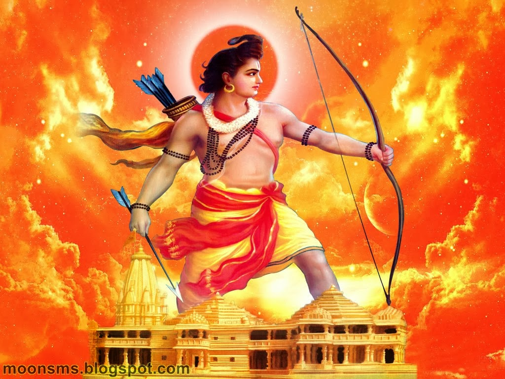 Happy Ram Navami SMS 2014 text message wishes greetings quotes in English Hindi with hindu God Jay shri Ram with sita Hanuman gif animated images picture photo HD wallaper standing